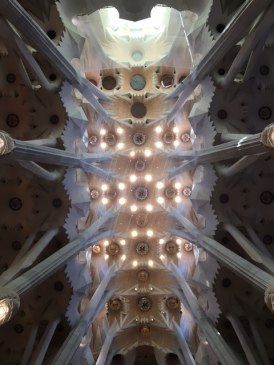 Looking up at the ceiling in Sagrada Familia, Barcelona, Catalunya, Spain