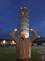 Everyone has a different pose with the leaning Tower of Pisa. This is my entry. Sorry. Pisa, Tuscany, Italy.